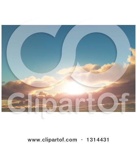 Clipart of a 3d Sunset Sky with Puffy Clouds - Royalty Free Illustration by KJ Pargeter