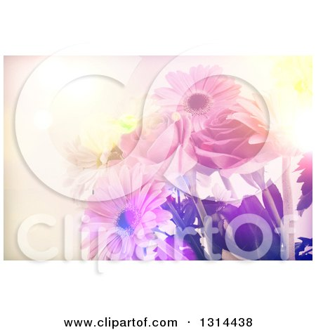 Clipart of a Vintage Lit Floral Bouquet Background of Daisies and Roses - Royalty Free Illustration by KJ Pargeter