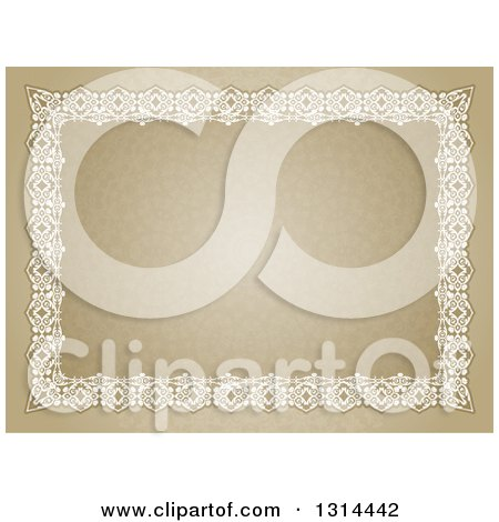 Clipart of a Certificate Design with an Orante White Lace Border over a Pattern - Royalty Free Vector Illustration by KJ Pargeter