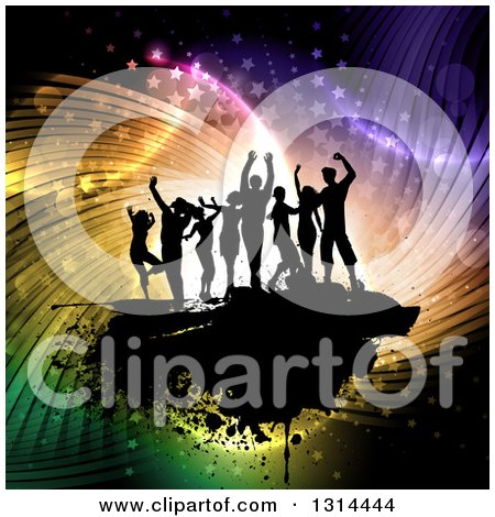 Clipart of a Team of Black Silhouetted Dancers on Grunge Overcolorful Swirly Flares, Lights and Stars - Royalty Free Vector Illustration by KJ Pargeter