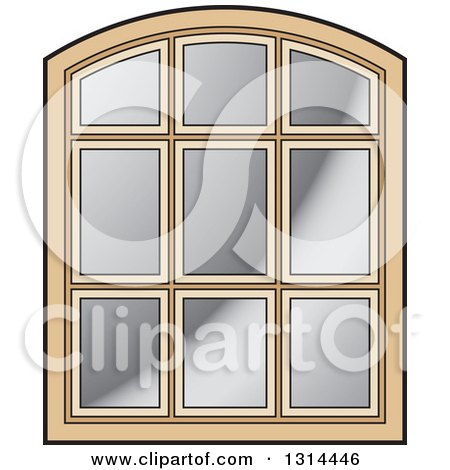 Clipart of a Rounded Top Wooden Window Frame - Royalty Free Vector Illustration by Lal Perera