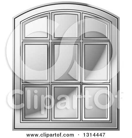 Clipart of a Rounded Top Silver Window Frame - Royalty Free Vector Illustration by Lal Perera