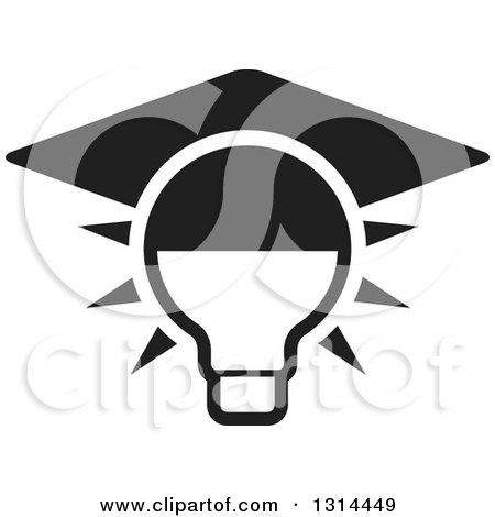 Clipart of a Black and White Shining Light Bulb with a Graduation Cap - Royalty Free Vector Illustration by Lal Perera