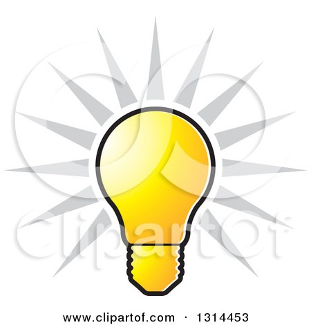 Clipart of a Shining Bright Yellow Light Bulb and Gray Rays - Royalty Free Vector Illustration by Lal Perera