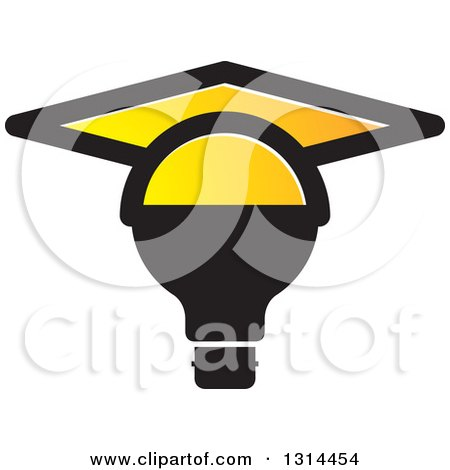 Clipart of a Black Light Bulb with a Yellow Graduation Cap - Royalty Free Vector Illustration by Lal Perera
