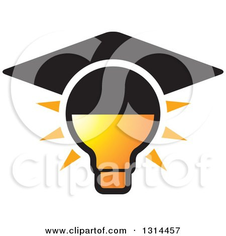 Clipart of a Brown Mortar Board Graduation Cap Icon - Royalty Free ...