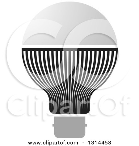 Clipart of a Black and Gray LED Light Bulb - Royalty Free Vector Illustration by Lal Perera