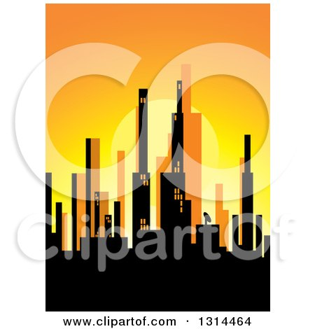 Clipart of a Silhouetted City Skyline at Sunset - Royalty Free Vector Illustration by Lal Perera