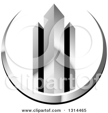 Clipart Of A 3d Skyscraper Buildings In A Silver Swoosh Royalty Free Vector Illustration