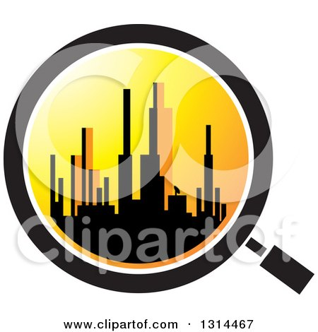 Clipart of a Silhouetted City Skyline at Sunset in a Magnifying Glass - Royalty Free Vector Illustration by Lal Perera