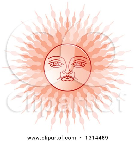 Clipart of a Sinhalese New Year Pink Sun - Royalty Free Vector Illustration by Lal Perera