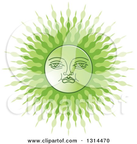 Clipart of a Sinhalese New Year Green Sun - Royalty Free Vector Illustration by Lal Perera