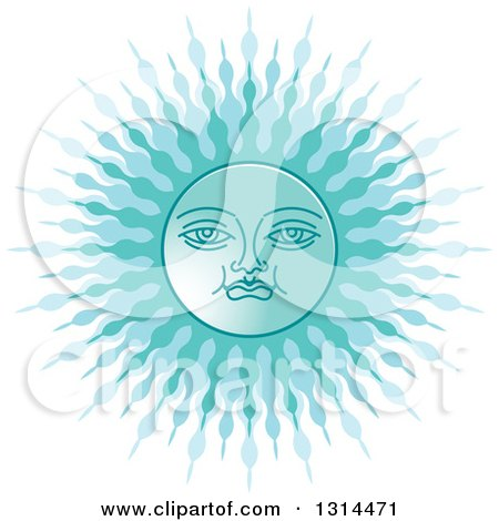 Clipart of a Sinhalese New Year Blue Sun - Royalty Free Vector Illustration by Lal Perera