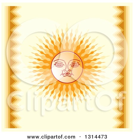 Clipart of a Sinhalese New Year Sun over Yellow - Royalty Free Vector Illustration by Lal Perera