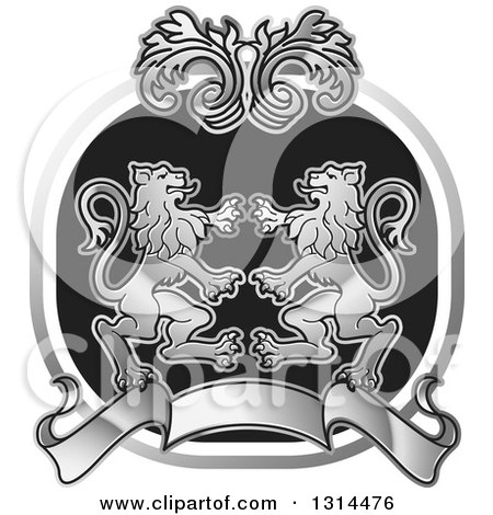 Clipart of a Silver Black and White Rampant Male Lion, Floral and Blank Banner Crest - Royalty Free Vector Illustration by Lal Perera