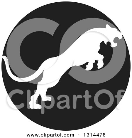 Clipart of a White Silhouetted Leaping Cougar or Tiger in a Black Circle - Royalty Free Vector Illustration by Lal Perera