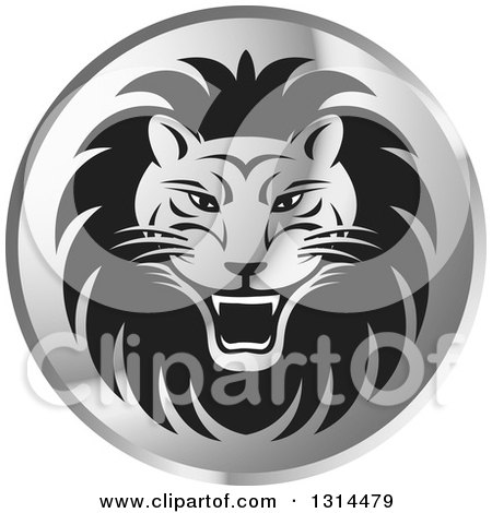 Clipart of a Gradient Silver Shiny Roaring Male Lion Head Round Icon - Royalty Free Vector Illustration by Lal Perera