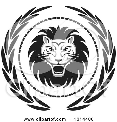 Clipart of a Grayscale Roaring Male Lion in a Dot and Leaf Wreath - Royalty Free Vector Illustration by Lal Perera