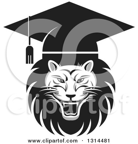Clipart of a Grayscale Roaring Male Lion Graduation Head Wearing a Cap - Royalty Free Vector Illustration by Lal Perera