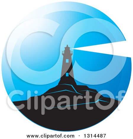 Clipart of a Black Lighthouse with a Shining Beacon in a Blue Round Circle - Royalty Free Vector Illustration by Lal Perera