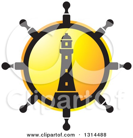 Clipart of a Ship Steering Wheel Helm with a Lighthouse and Sunset - Royalty Free Vector Illustration by Lal Perera