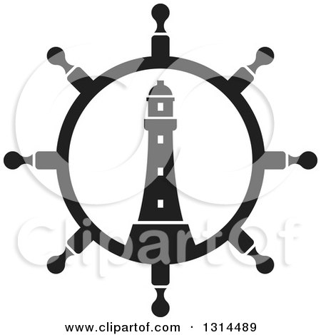 Clipart of a Black and White Ship Steering Wheel Helm with a Lighthouse - Royalty Free Vector Illustration by Lal Perera