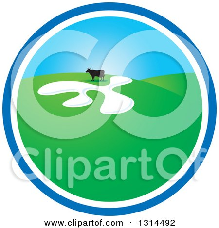Clipart of a Cow in a Green Hilly Pasture Inside a Blue and White Circle Icon - Royalty Free Vector Illustration by Lal Perera