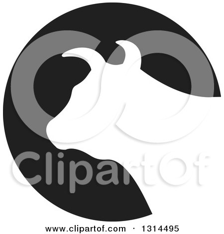 Clipart of a White Silhouetted Bull Head over a Black Round Icon - Royalty Free Vector Illustration by Lal Perera
