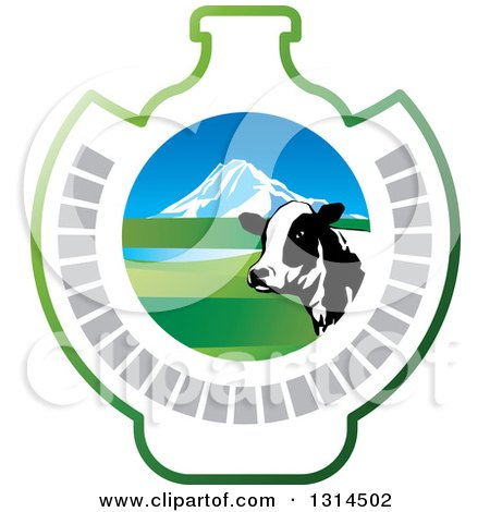 Clipart of a Dairy Cow Head over a Mountain and Open Range Pasture in a Bottle Shape - Royalty Free Vector Illustration by Lal Perera