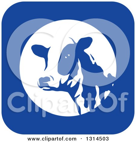 Clipart of a Dairy Cow Head in a Blue and White Square Icon - Royalty Free Vector Illustration by Lal Perera