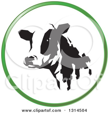 Clipart of a Black and White Dairy Cow Head in a Green Round Circle Icon - Royalty Free Vector Illustration by Lal Perera