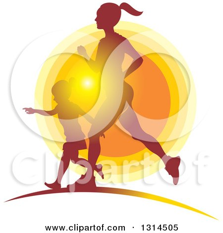 Clipart of a Silhouetted Fith Mother Running with Her Daughter Against a Sunset - Royalty Free Vector Illustration by Lal Perera