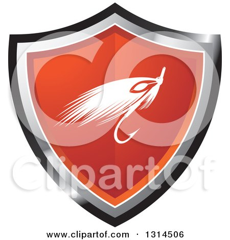 Clipart of a Fishing Lure on a Red Black and Silver Shield - Royalty Free Vector Illustration by Lal Perera
