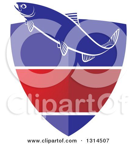 Clipart of a Fish over a Blue White and Red Shield - Royalty Free Vector Illustration by Lal Perera