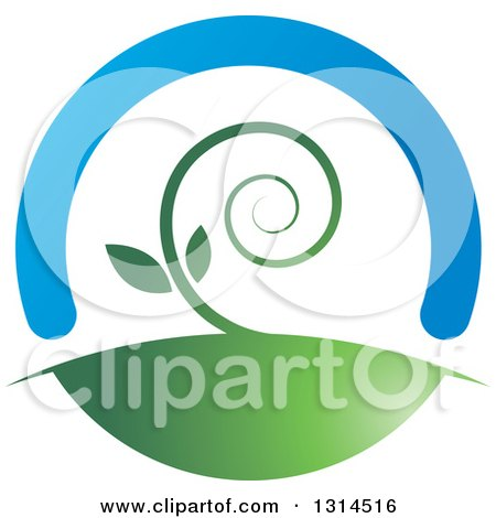 Clipart of a Spiraling Vine Under a Blue Arch - Royalty Free Vector Illustration by Lal Perera