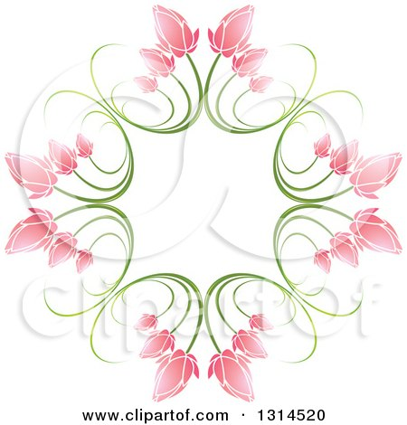 Clipart of a Circle of Green Stems and Pink Flowers 2 - Royalty Free Vector Illustration by Lal Perera