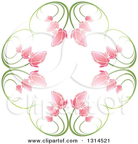 Clipart of a Circle of Green Stems and Pink Flowers - Royalty Free Vector Illustration by Lal Perera