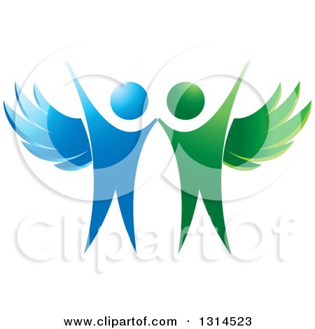 Clipart of Cheering Green and Blue Angels - Royalty Free Vector Illustration by Lal Perera