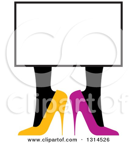 Clipart of Yellow and Purple High Heel Shoes Under a Blank Sign - Royalty Free Vector Illustration by Lal Perera