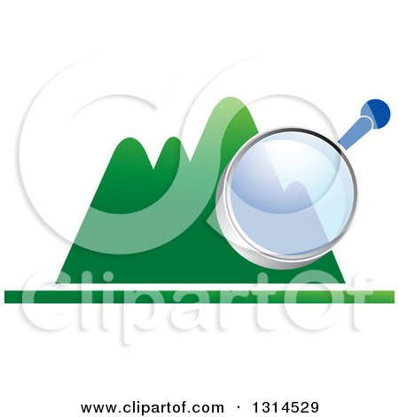 Clipart of a Magnifying Glass over Green Mountains - Royalty Free Vector Illustration by Lal Perera