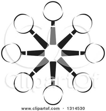 Clipart of a Black and White Circle of Magnifying Glasses - Royalty Free Vector Illustration by Lal Perera