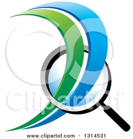 Clipart of a Magnifying Glass with Green and Blue Swooshes - Royalty Free Vector Illustration by Lal Perera