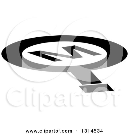 Clipart of a 3d Letter M Magnifying Glass Shaped Hole - Royalty Free Vector Illustration by Lal Perera