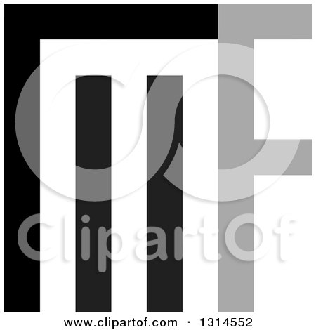Clipart of a Gray and Black Abstract Letter M and F Design - Royalty Free Vector Illustration by Lal Perera