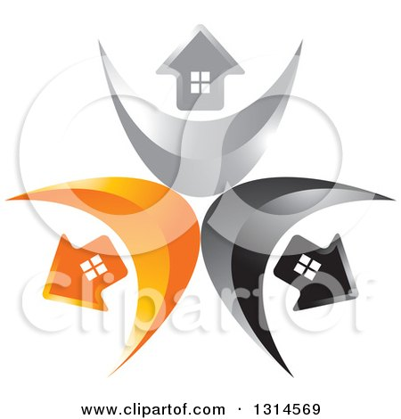 Clipart of a Circle of Black, Silver and Orange Arrow Homes on Swooshes - Royalty Free Vector Illustration by Lal Perera