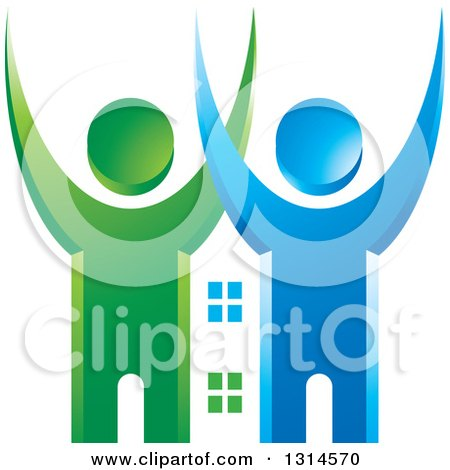 Clipart of a Blue and Green Cheering Couple with a House Between Them - Royalty Free Vector Illustration by Lal Perera