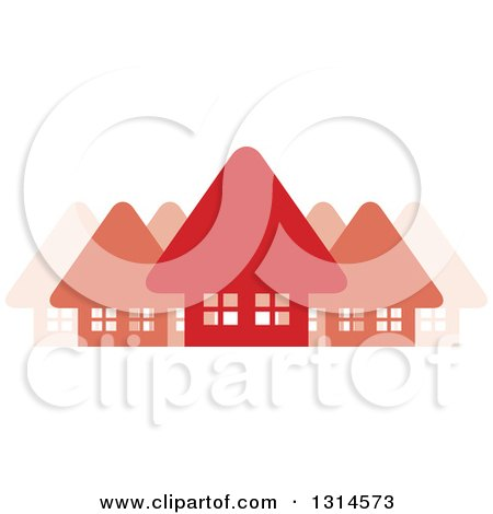 Clipart of a Neighborhood of Red Homes - Royalty Free Vector Illustration by Lal Perera