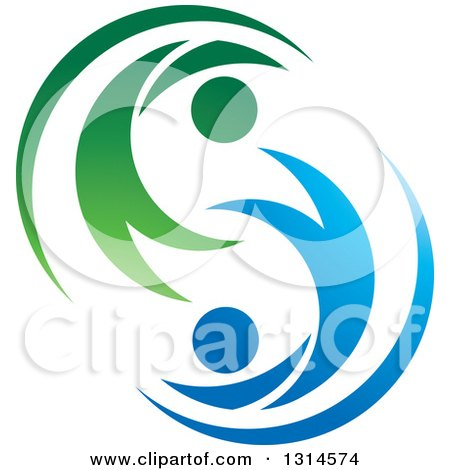Clipart of a Green and Blue Gradient Couple Dancing Flying or Swimming - Royalty Free Vector Illustration by Lal Perera