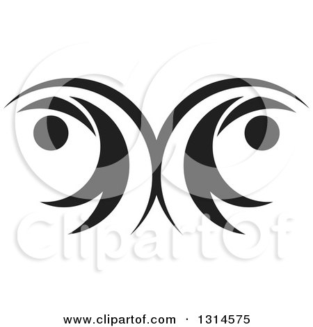 Clipart of a Black and White Couple Dancing Flying or Swimming - Royalty Free Vector Illustration by Lal Perera