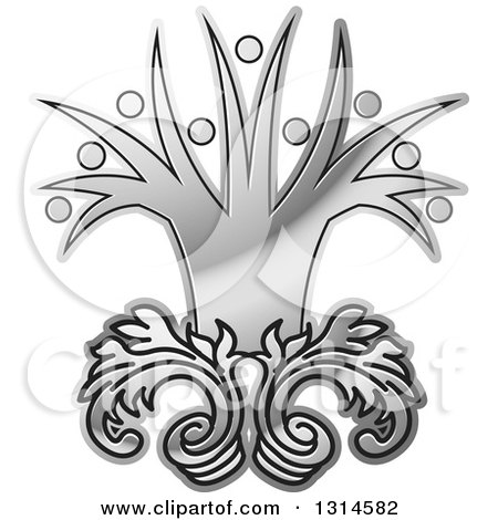 Clipart of a Gradient Silver Tree with People Branches - Royalty Free Vector Illustration by Lal Perera